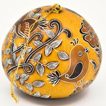 Handcrafted Carved Gourd Art Whimsical Whimsy Birds Ornament Made in Peru image 3