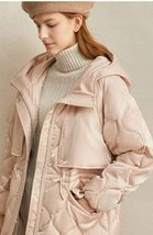 Women's European Brand Designer Thick Hooded Solid Quilted Down Winter Coat image 6