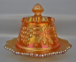 Northwood Trademarked Marigold Carnival Glass GRAPE & CABLE Butter Dish ... - $112.50