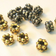 5 Pcs. Double Heishi Spacer Fine Pewter Beads - See Image For Size image 2