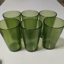 Vintage 6 Silite Restaurant green Plastic Tumblers Cups Drink 8oz 2309 O... - $14.01