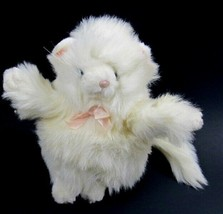 FLUFF Russ Berrie Vtg White Soft Fat Cat Plush Stuffed Animal with Pink Bow - $15.83