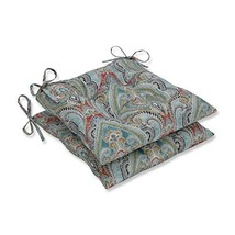 Pillow Perfect Outdoor | (Pretty Witty Reef|Tufted Seat Cushions - Squar... - £52.52 GBP