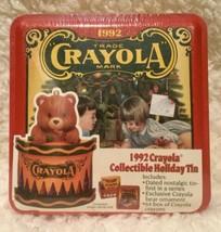 Vintage 1992 Crayola Collectible Holiday Tin - 64 Crayons & Bear Ornamen... - $19.75