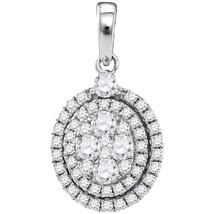 14k White Gold Round Diamond Oval Cluster Fashion Pendant 1-1/10 Ctw - $1,584.00