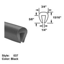 "EPDM Rubber U-Channel Push-On Trim - Ht. 15/16"" x Wd. 3/4"" - Black - 25 ft - $144.71"