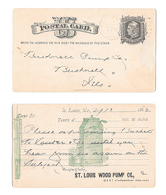 Sc UX5 St Louis Wood Pump Co Illustrated 1882 Faint Duplex Cancel to Bus... - $9.95