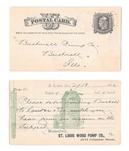 Sc UX5 St Louis Wood Pump Co Illustrated 1882 Faint Duplex Cancel to Bushnell IL - $9.95