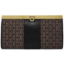 Fossil Kayla Printed Clutch Frame Wallet, Black/Brown $88 - $45.14