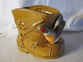 Vintage Inarco Hunters Boot Planter With Pheasant-Embossed Gun Ammo Hat ... - $9.46