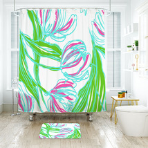 Flower Lilly Pattern 03 Shower Curtain Waterproof & Bath Mat For Bathroom - $15.30+