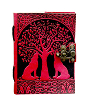 Prastara Handmade Goat Leather Journal    Double Lion Embossed Book of S... - $35.00