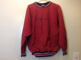 Champion Vintage Faded Red Sweater w Blue/Red/White Trim Sz XL