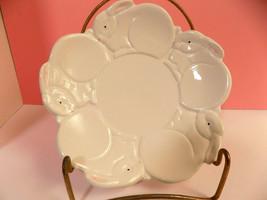 DEPARTMENT 56 Dept 56 EASTER BUNNY DISH Pristine Porcelain 5 Rabbits Pin... - $11.40