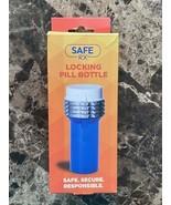 SafeRX Locking Pill Bottle, Blue, Large, 1ct --New--Ships FREE - $16.82