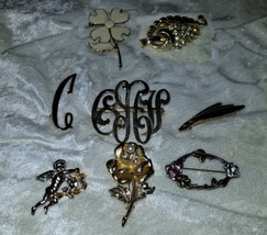 Lot of vintage pins brooches brass Signed Sarah Covnetry flower rose as is - $18.00