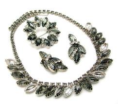 Vintage Rhinestone Necklace Brooch & Earrings Set Smoke & Clear Dog Toot... - $89.95