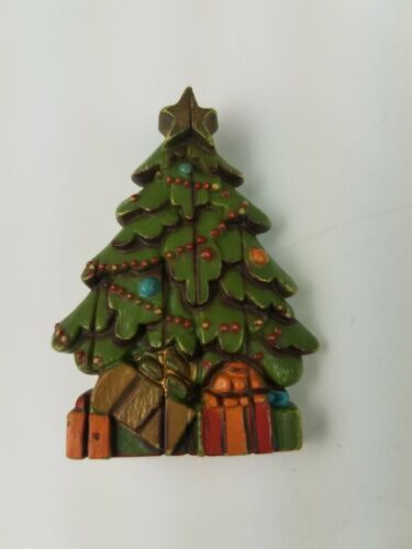 Primary image for  Hallmark Holiday Christmas Pin Decorated Christmas Tree Green with Presents