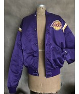 Vintage Los Angeles LA Lakers STARTER Jacket XL L Purple SATIN Quilted L... - $435.22