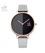 SK® Women Casual Leather Quartz Watch Round Wrist Watch with Gold Case Dial - $26.68