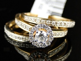 Women's Engagement Band Wedding Ring Set Round Cut CZ 14k Gold Plated 925 Silver - $124.49