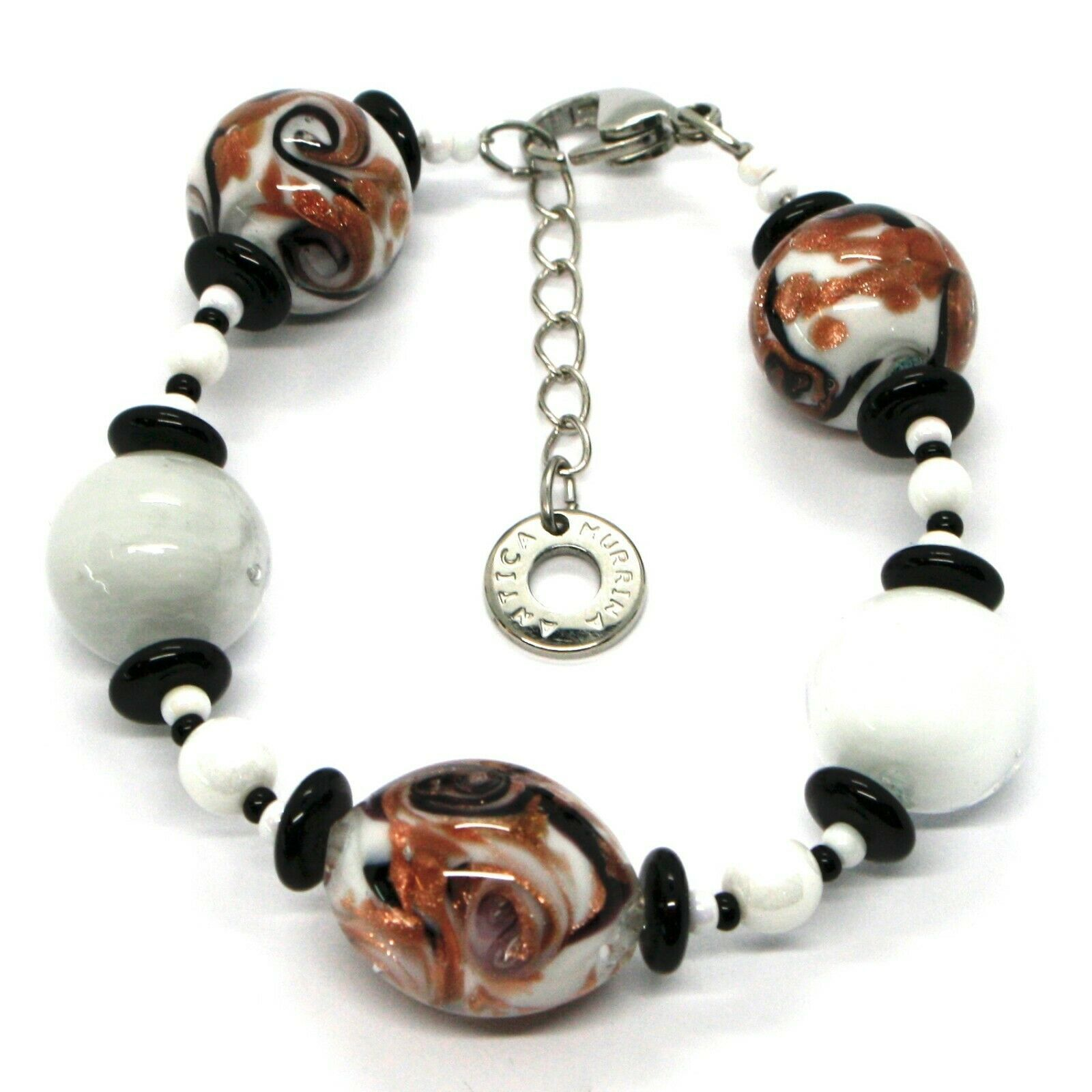 BRACELET ANTIQUE MURRINA VENICE BR801A15, TESE, MURANO GLASS, SPHERES WHITE