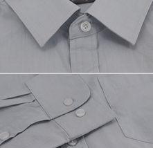 Men's Cotton Casual Long Sleeve Classic Grey Button Up Dress Shirt - Medium image 3