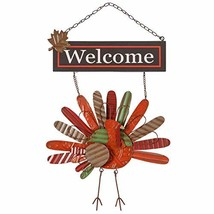 Ogrmar Vintage Metal Thanksgiving Turkey Wall Hanging Decoration Welcome... - $19.06
