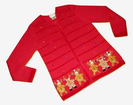 The Quacker Factory Sweater Size Medium Cardigan Christmas Red Reindeer ... - $19.79