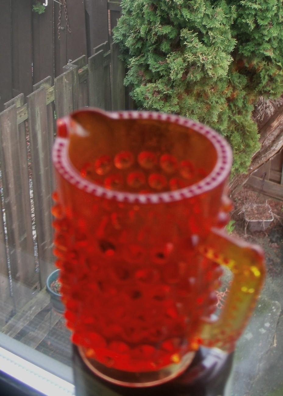 Amberina Miniature HOBNAIL Jug /  Pitcher _unmarked Fenton Glass _rare_ 4 Panels