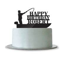 Custom Personalized Happy Birthday Name Cake Topper Fishing Boat Fisherman - $21.39