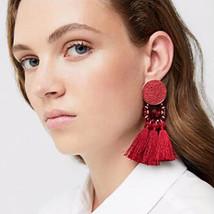 Lady Fashion Tassel Earrings Women Bohemian Wedding Classic Fringed Bead... - $10.30