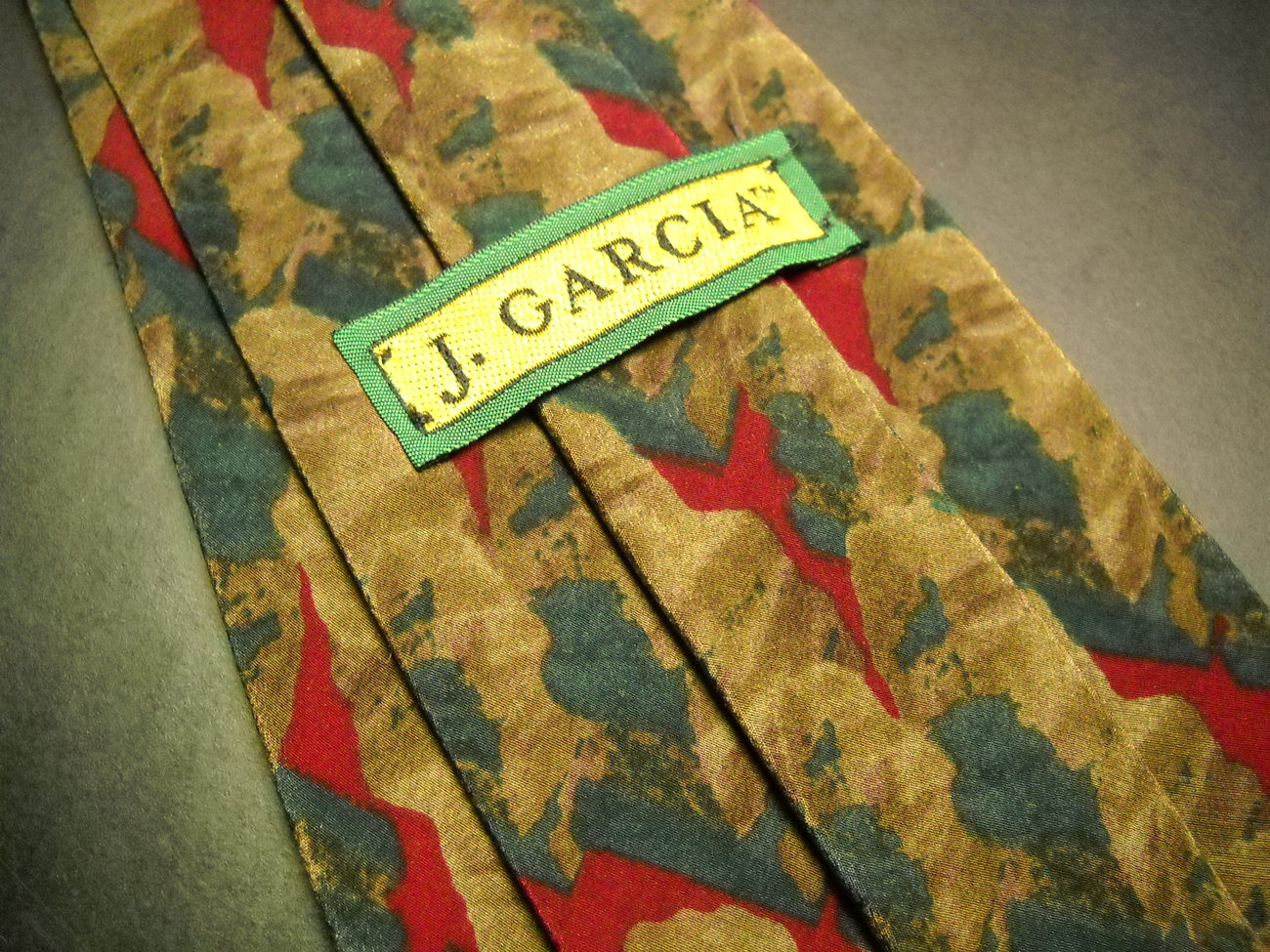 J Garcia Neck Tie Collection 06 Desert Storm Silk Browns Greens Stonehenge