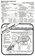 Warm & Dry Dog Coat Rain Gear #553 Sewing Pattern (Pattern Only) gp553 - $7.00