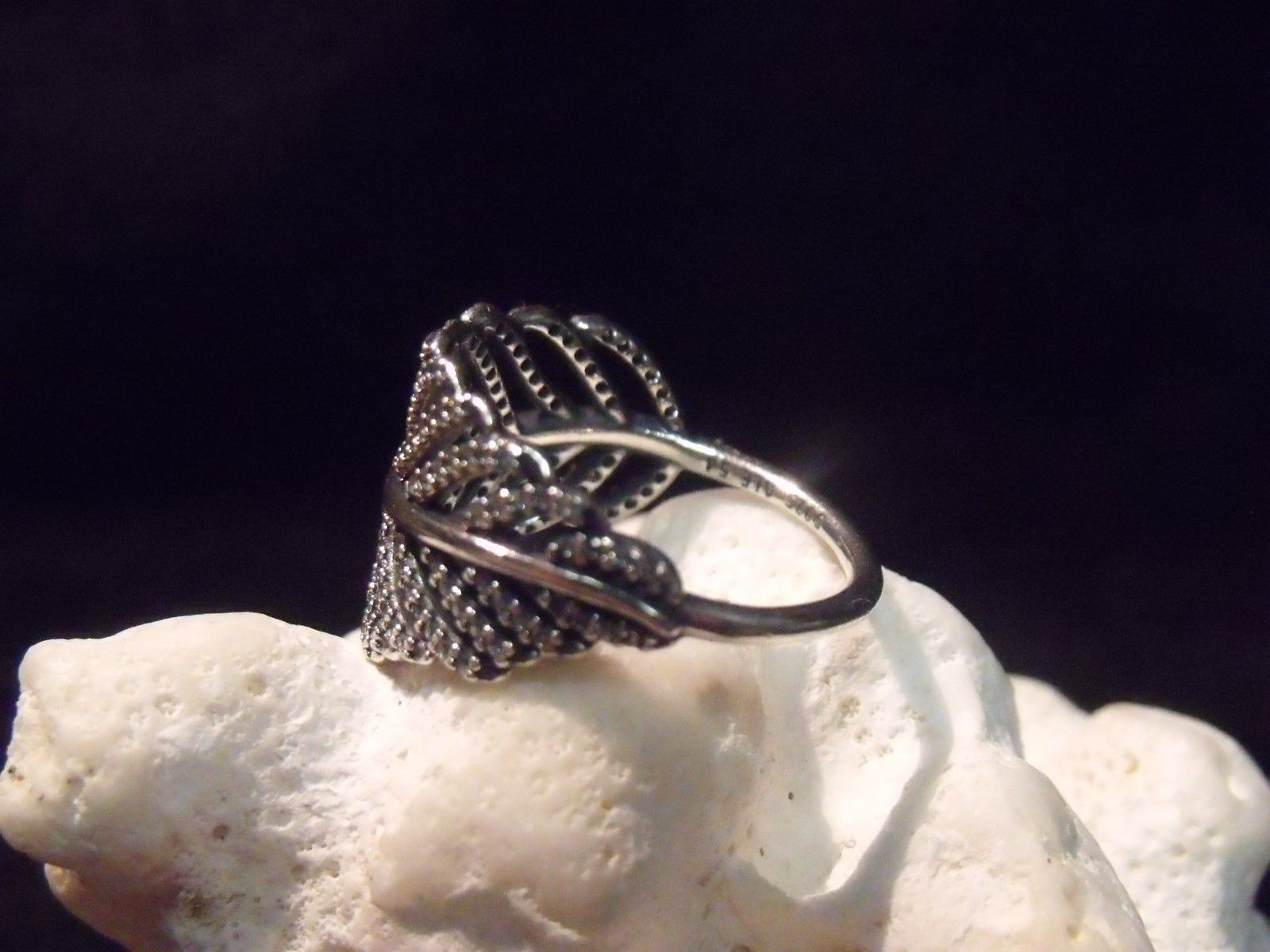 Primary image for PANDORA STERLING & CZ'S 54 (SZ. 7) PALM LEAF FROND RING