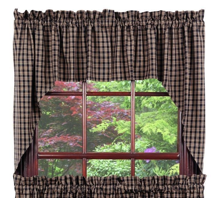 Olivia's Heartland country cabin primitive Cambridge Black Swag curtains set - $39.95