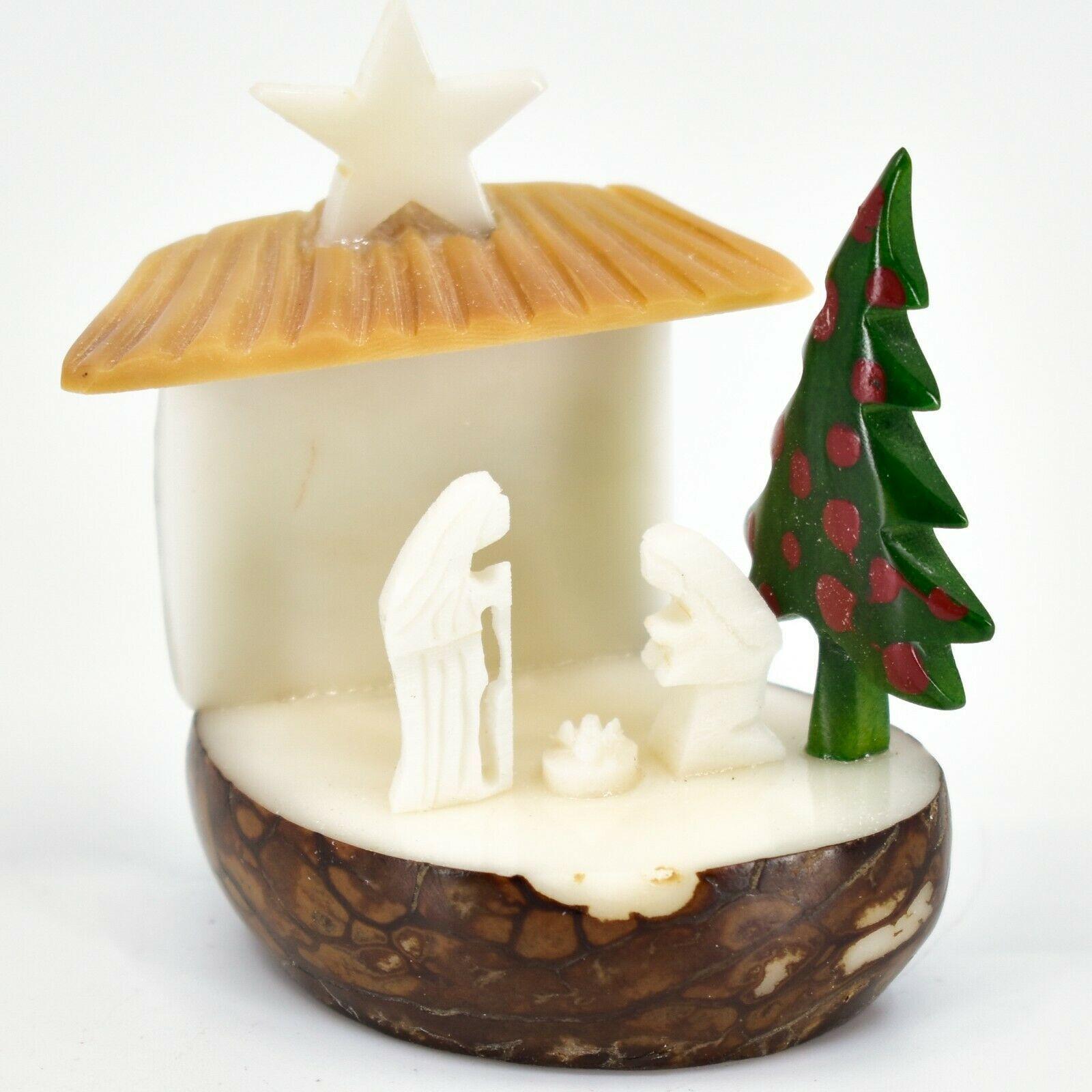 Hand Carved Tagua Nut Carving Nativity Scene Figurine w Manger & Christmas Tree
