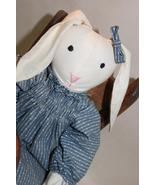 Country Charm Bunny in Blue Dress in a Wooden School Chair Handmade - $32.95