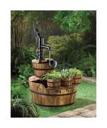 PUMP and  BARREL FOUNTAIN  and planter trio yard decor - $149.99