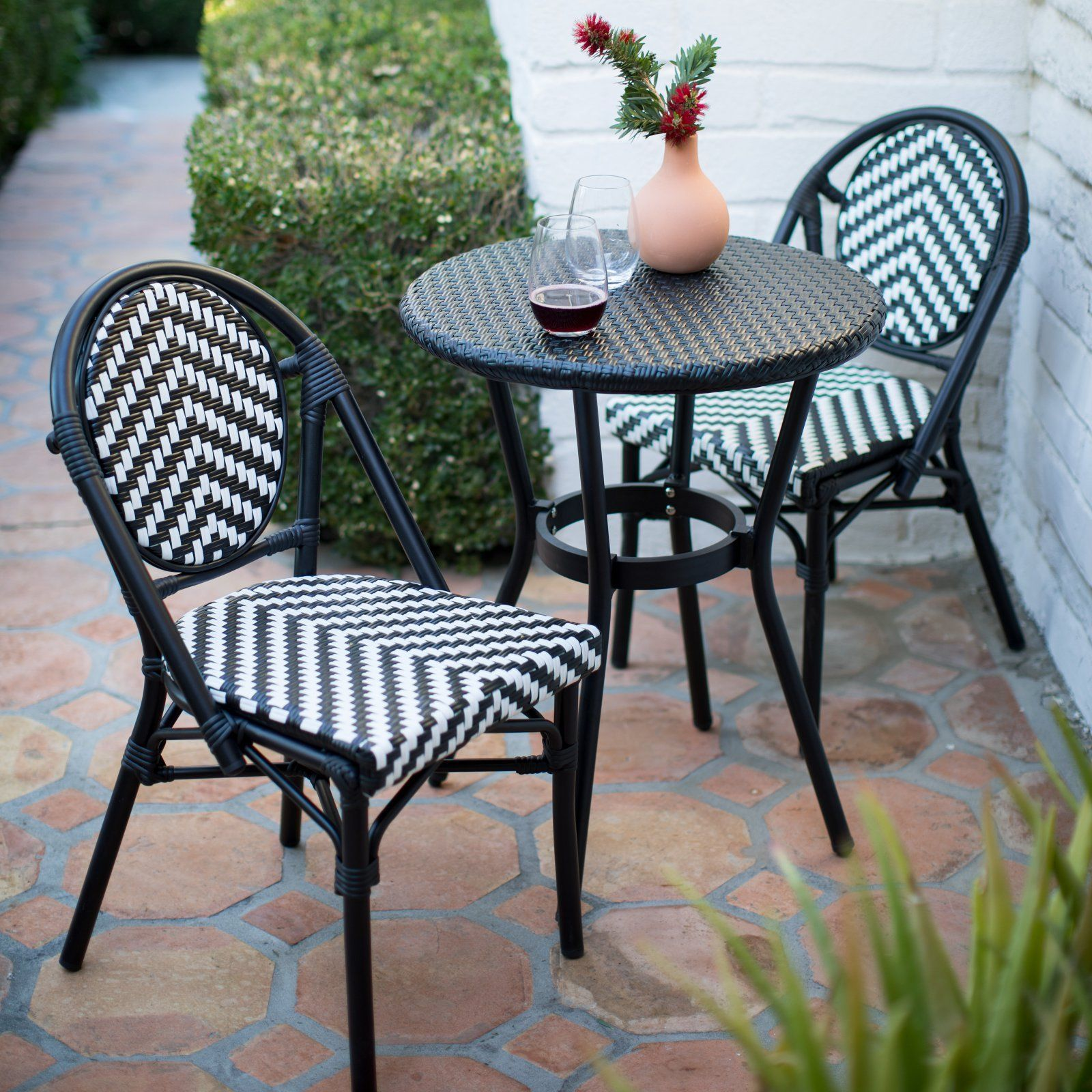 white chairs sets outdoor furniture for small spaces | Black & White 3 pc Outdoor Resin Wicker Small Space Patio ...