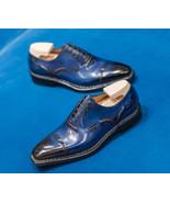Premium Leather Blue Color Customized Oxford Burnished Cap Toe Men Styli... - $139.90+