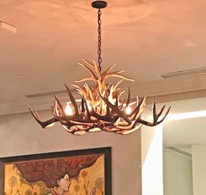 "Rustic Elk Aspen Molded Antler Chandelier 6 Lights 25"" W  Wood Tone New - $988.02"
