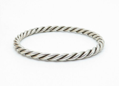 925 Sterling Silver - Vintage Twist Designed Round Bangle Bracelet - B5908