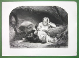 YOUNG MOTHER Sleeping Baby Deer Forest - SUPERB Antique Print - $30.60