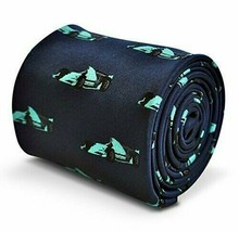 Frederick Thomas navy blue tie with F1 Formula One racing car design - $15.67