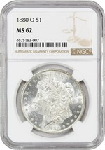 1880-O $1 NGC MS62 - Scarce O-Mint Morgan - Morgan Silver Dollar - $169.75