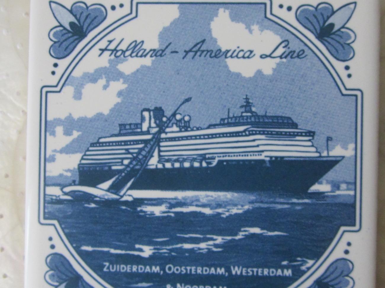 Holland-America Delft Tile Coaster Zuiderdam Oosterdam Westerdam & Noordam