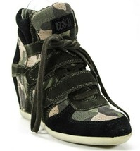 Ash Womens Lace Wedge Camouflage camo High Top Sneakers Suede shoes 39 9... - $89.00