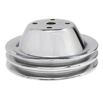 """CHEVY SMALL BLOCK DOUBLE-GROOVE STEEL LONG WATER PUMP PULLEY 5/8"""" SHAFT CHROME"""