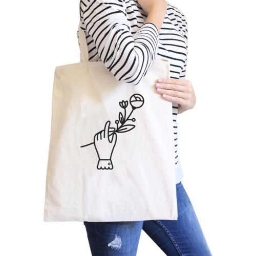 Primary image for Hand Holding Flower Natural Canvas Bag Cute School Bag Craft Bag